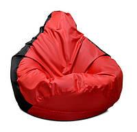 Черное с красным кресло-мешок груша 120*90 см из ткани Оксфорд