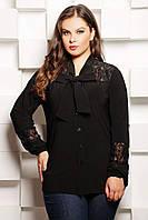 Блуза с бантом АВГУСТА черная, фото 1