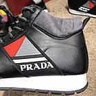 Кросівки чоловічі сникеры Prada Mechano Mid Sneakers Black, (репліка), фото 3
