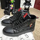 Черевики чоловічі демісезонні Gucci Signature Web High Top Black/Green/Red, (репліка), р 41,42, фото 2