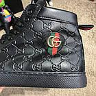 Черевики чоловічі демісезонні Gucci Signature Web High Top Black/Green/Red, (репліка), р 41,42, фото 3