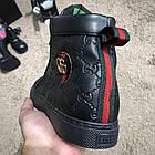 Черевики чоловічі демісезонні Gucci Signature Web High Top Black/Green/Red, (репліка), р 41,42, фото 9