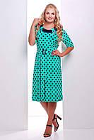 Платье с атласной отделкой СИЛЬВИЯ бирюзовое, фото 1