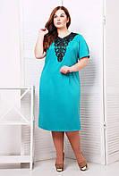 Платье с кружевным элементом МИШЕЛЬ бирюзовое, фото 1