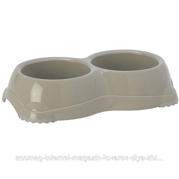 Moderna Smarty Bowl №1 двойная миска пластик для кошек и собак (2*330 мл, d-11 см) теплый серый