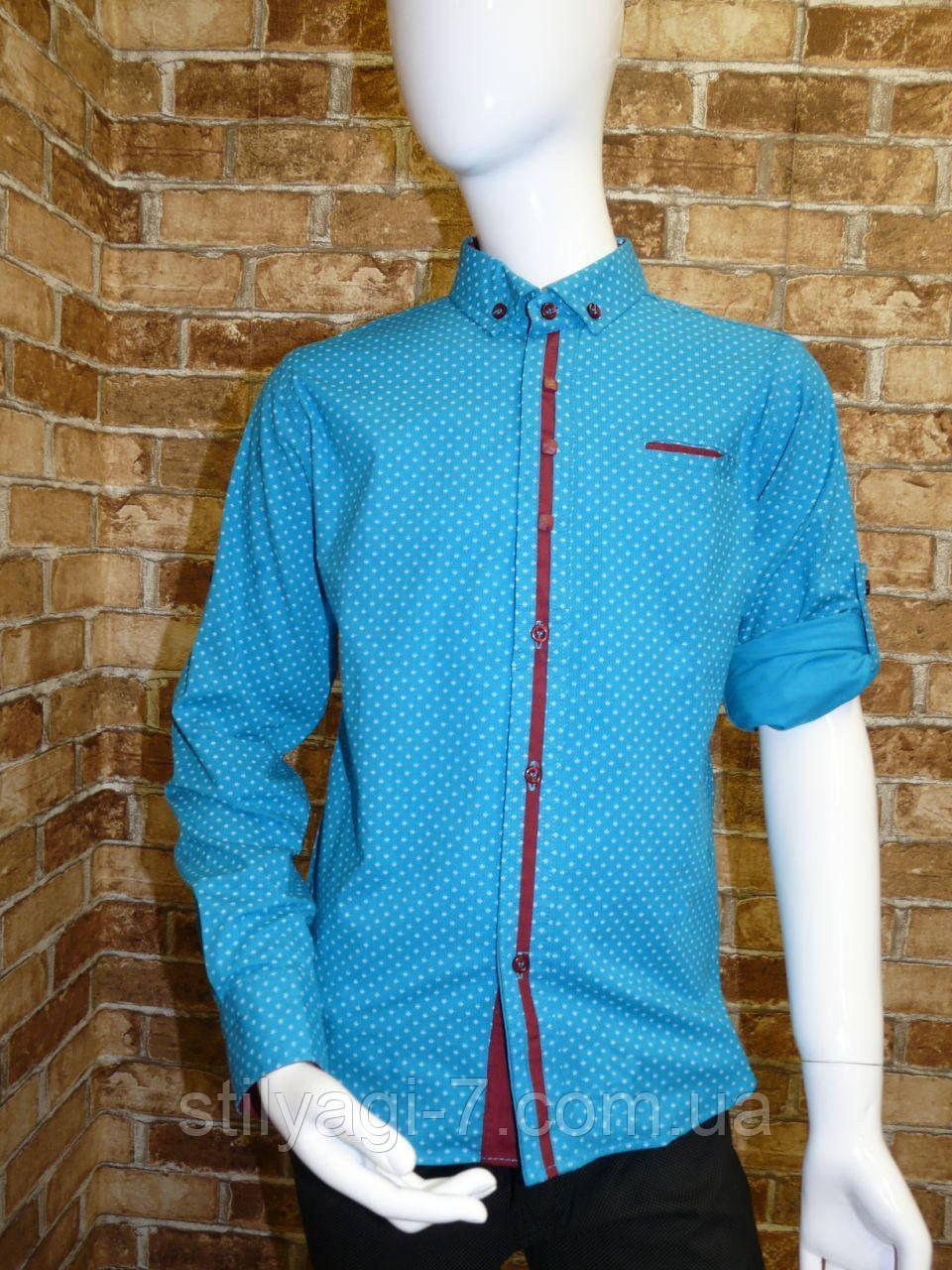 Рубашка на мальчика 12-16 лет голубого цвета с окантовкой с длинным рукавом оптом