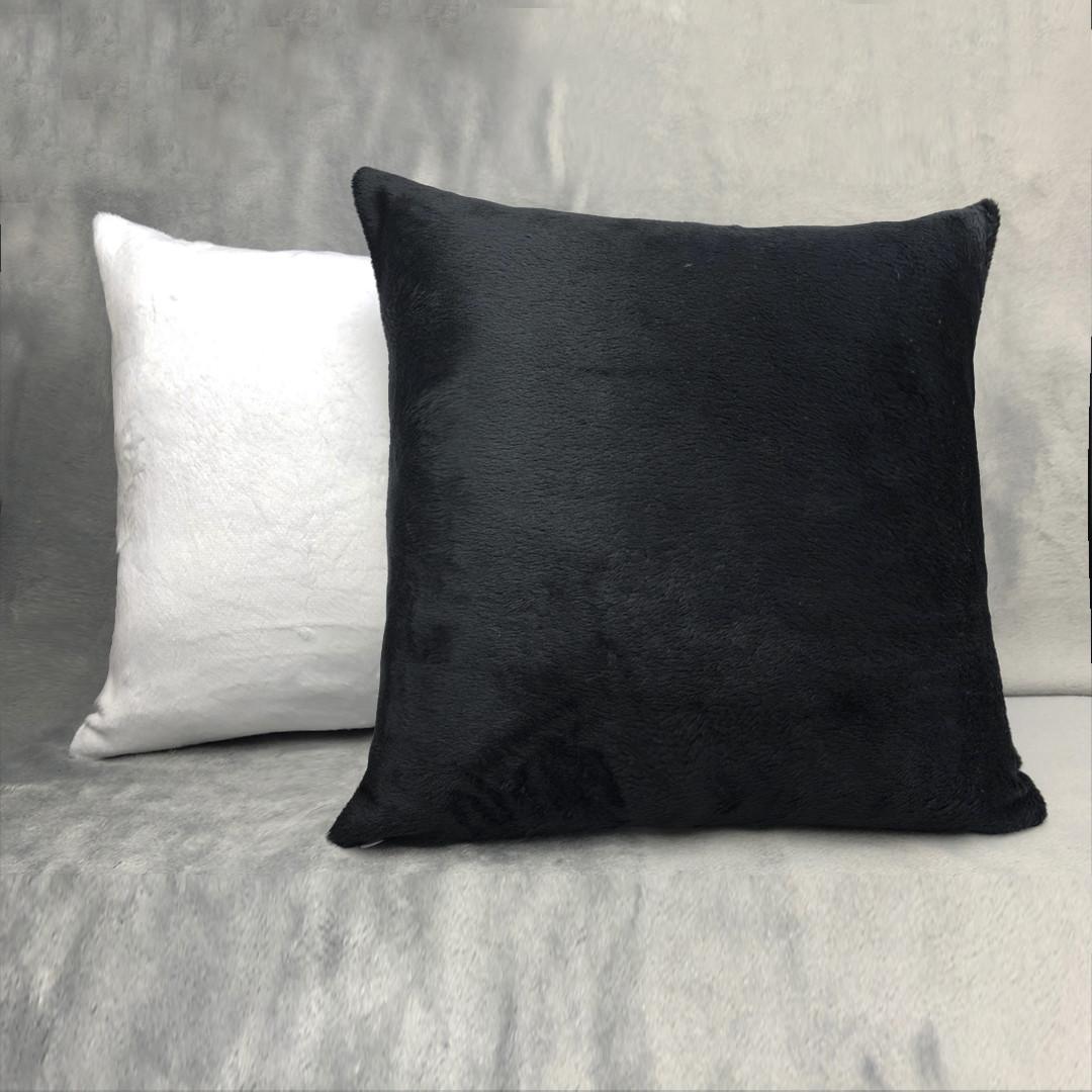 Подушка квадрат 35см. білий/ чорний плюшева для сублімації