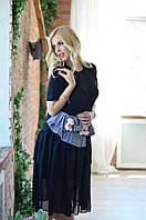 """Комбинированное летнее платье-футболка """"TEDDY"""" с шифоновой юбкой (2 цвета)"""
