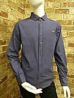Рубашка на мальчика 6-11 лет темно синего цвета с окантовкой с длинным рукавом оптом