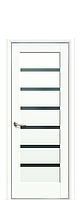 Дверное полотно Линнея Белый Матовый с черным стеклом