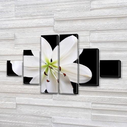 Белая Лилия, модульная картина (Цветы), на Холсте син., 65x120 см, (18x18-2/40х18-2/65x18-2)