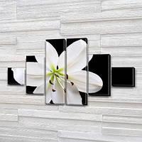 Белая Лилия, модульная картина (Цветы), на Холсте син., 65x120 см, (18x18-2/40х18-2/65x18-2), фото 1