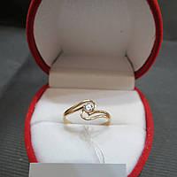 Золотое Кольцо с камнями Swarovski размер 17.5