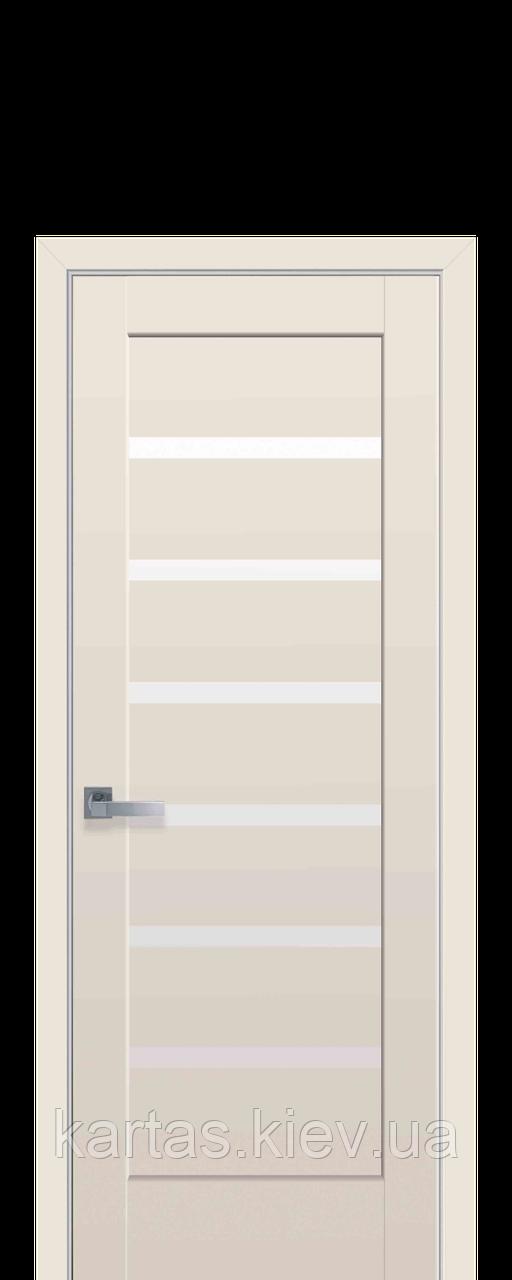 Дверное полотно Линнея Капучино со стеклом сатин