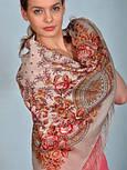 Кумушка 1453-2, павлопосадский платок шерстяной  с шелковой бахромой, фото 4