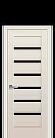 Дверное полотно Линнея Капучино с черным стеклом