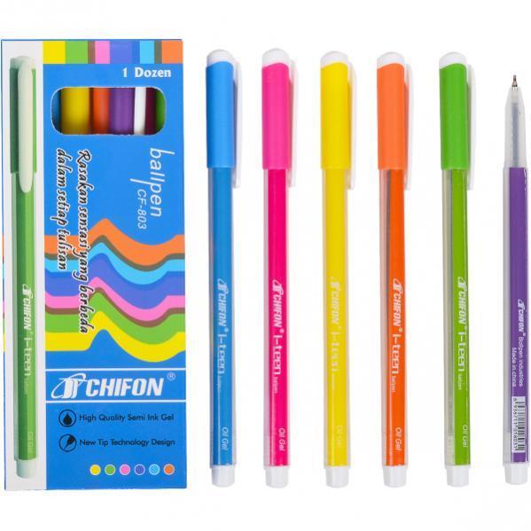 Ручка масляная CHIFON 803 синяя полосатая   CF-803