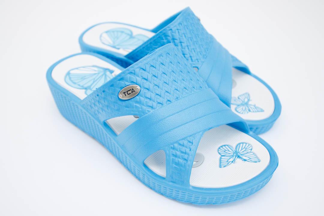 Шлепки женские (Код: Жен Танкетка голубой )