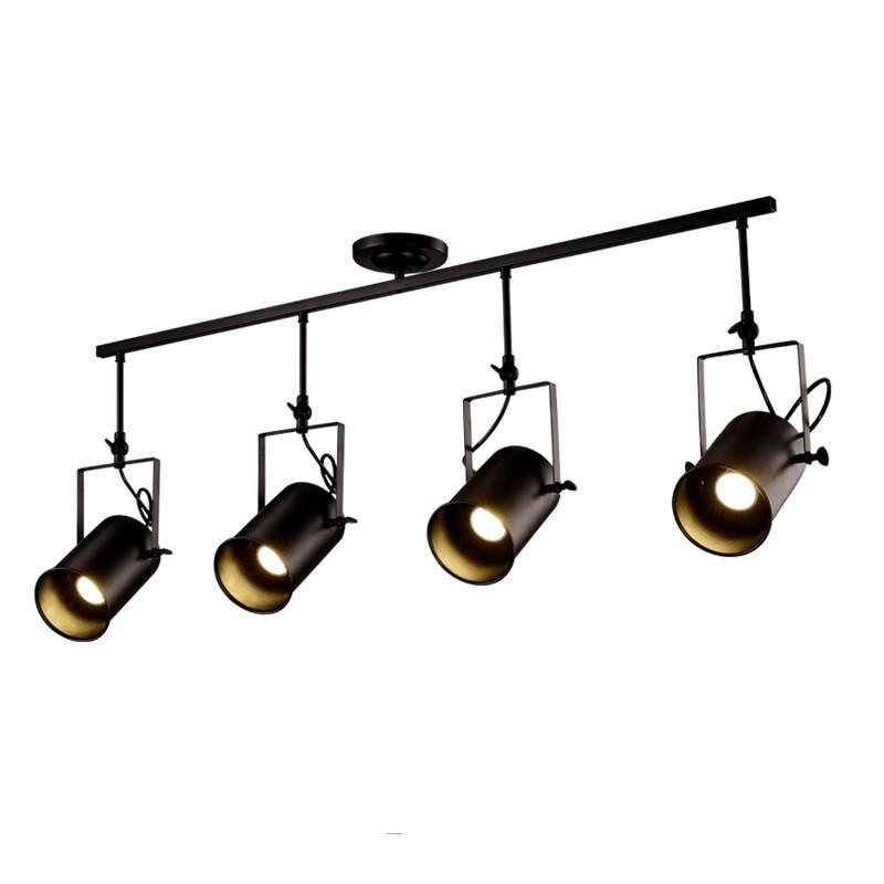 Светильник потолочный на 4 лампы в стиле loft прожектор на планке черный LV 761SD04-4 BK