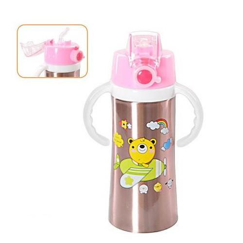 Термос-поилка детский с ручками 400мл с трубочкой, розовый Thermos