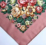 Цветочная нимфа 1831-16, 89x89, павлопосадский платок шерстяной с оверлоком, фото 4