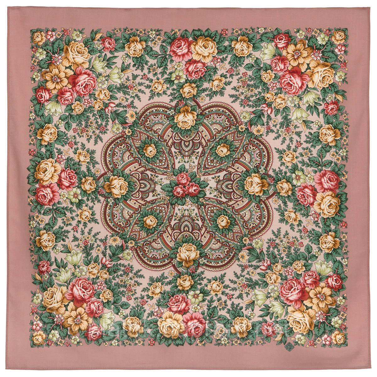 Цветочная нимфа 1831-16, 89x89, павлопосадский платок шерстяной с оверлоком