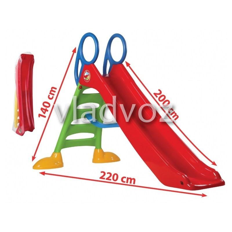 Детская горка игровая пластиковая дитяча гірка для дома площадки улицы спуск дачи красная Польша 200 см.