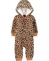 Теплый флисовый комбинезон с капюшоном Leopard Hooded Fleece Jumpsuit Carters (18 мес)