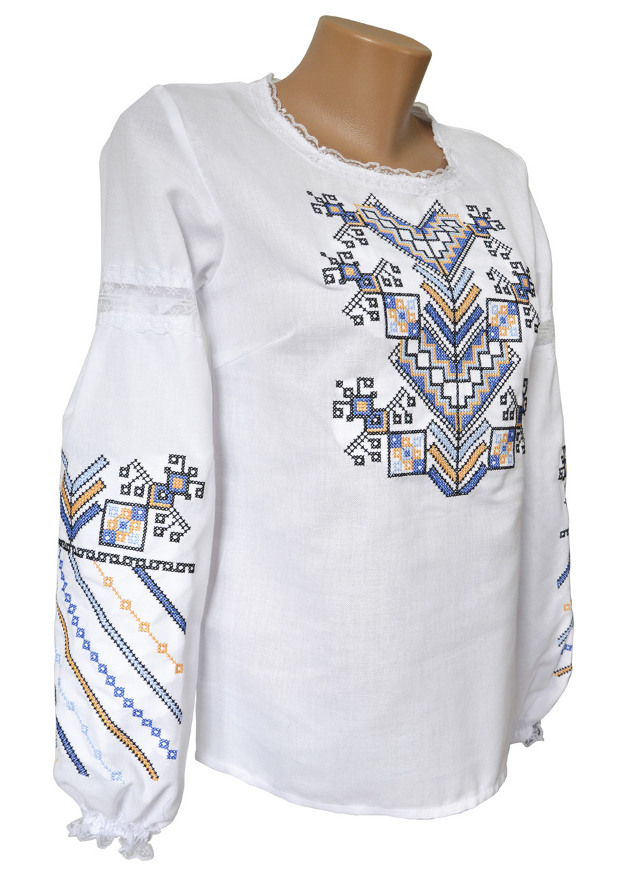 Підліткова вишиванка білого кольору із домотканого полотна «Дерево життя»