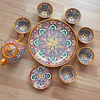 Узбекский чайный сервиз из 9 предметов ручной работы из г. Риштан