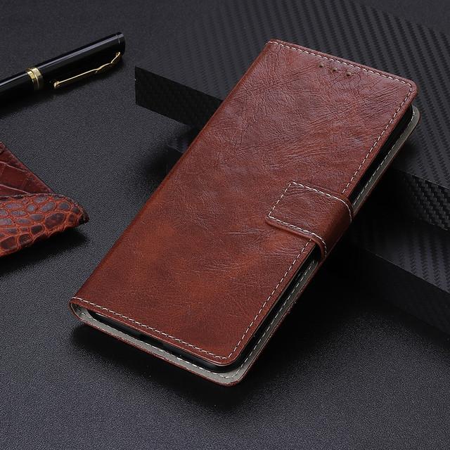 LG Q60 чехол книжка vintage коричневый