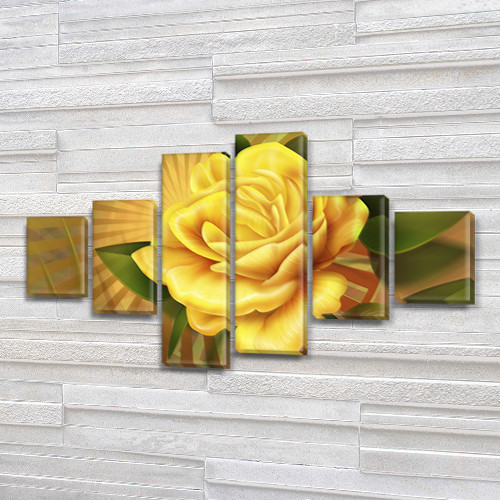 Восточная Роза, модульная картина (Цветы), 70x120 см, (25x18-2/35х18-2/65x18-2)