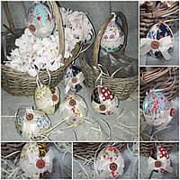 Текстильное пасхальное яйцо, ручная работа, разные расцветки, 7-8 см., 55/50 (цена за 1 шт. + 5 гр.)