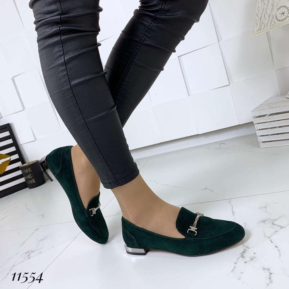 Туфли женские велюровые зеленые на низком ходу