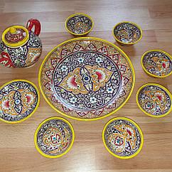 Узбецький чайний сервіз з 9 предметів р. Риштан, ручної роботи