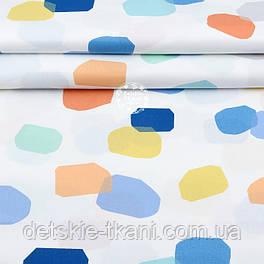 """Ткань шириной 240 см """"Акварельные штрихи"""" оранжевые, синие, мятные, жёлтые на белом №2048"""