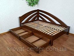 """Белая полуторная кровать угловая из массива дерева от производителя """"Радуга"""", фото 2"""