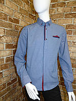 Рубашка на мальчика 12-16 лет синего цвета с окантовкой с длинным рукавом оптом