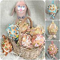 Шитое яйцо к пасхальным праздникам, ручная работа, кофе, какао, корица, 9 см., 85/78 (цена за 1 шт. + 7 гр.)