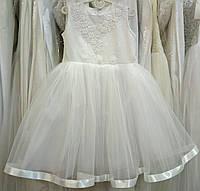 ae8fa2a1a97e49 Блестящее белое нарядное детское платье-маечка с вышивкой на 3-4 годика