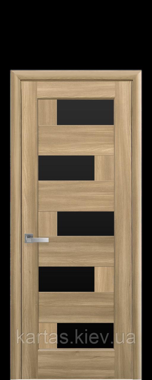 Дверное полотно Пиана Золотой Дуб с черным стеклом
