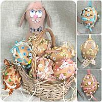 Декоративное шитое яйцо к Пасхе, ручная работа, кофе, какао, корица, 9 см., 85/78 (цена за 1 шт. + 7 гр.)