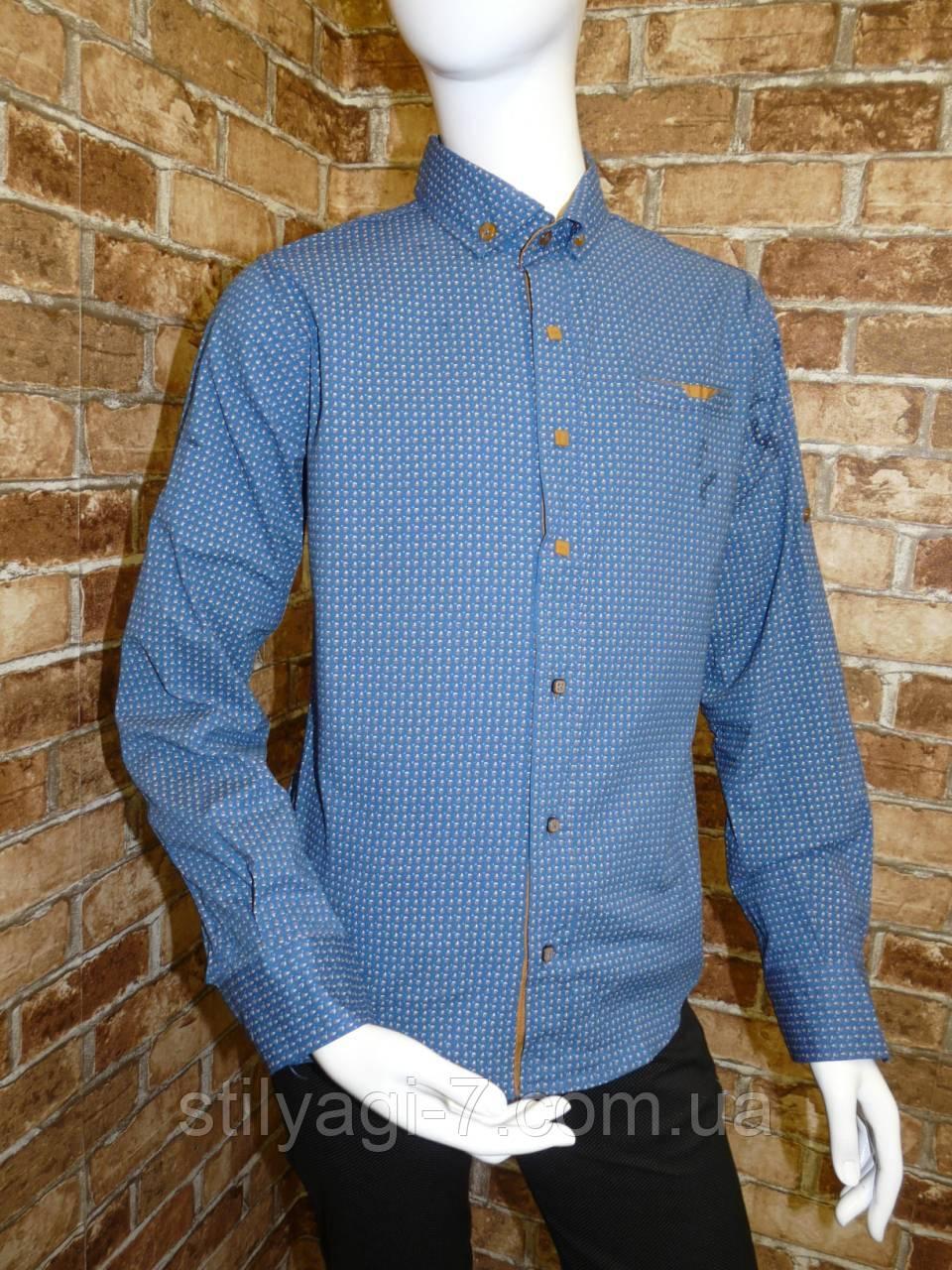 Рубашка на мальчика 6-11 лет синего цвета с окантовкой с длинным рукавом оптом