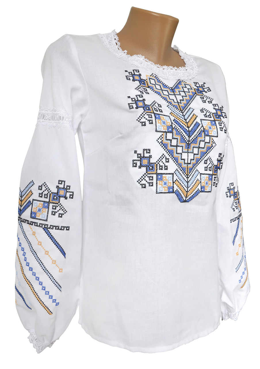 Модная женская вышиванка белого цвета с длинным рукавом