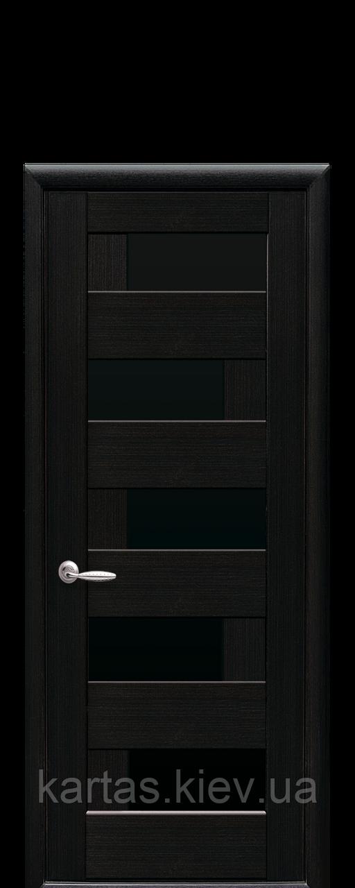 Дверное полотно Пиана Венге New с черным стеклом