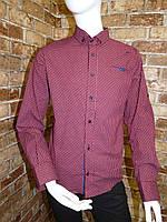 Рубашка на мальчика 6-11 лет бордового цвета с окантовкой с длинным рукавом оптом
