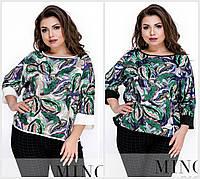 Женская цветочная шелковая блуза Батал до 54 р 18403, фото 1