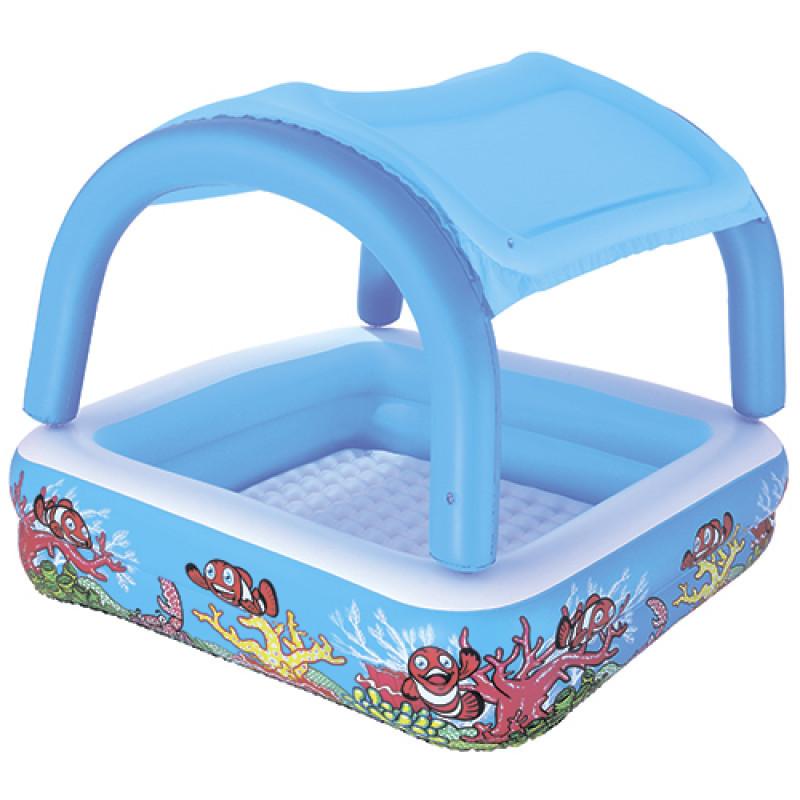 Детский надувной бассейндля малышей по типу грибс навесом - крышей, 147-147-122см, bestway52192
