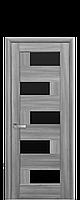 Дверное полотно Пиана Бук Пепельный с черным стеклом