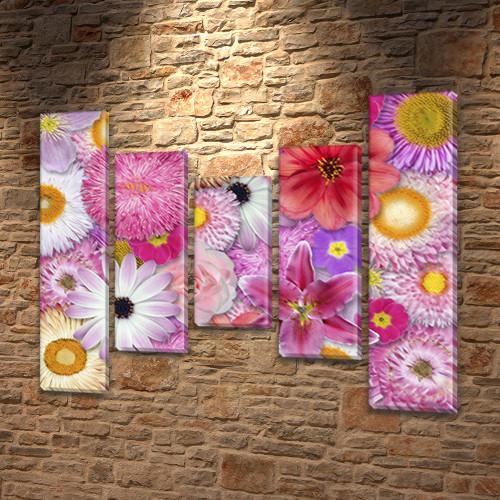 Астры, модульная картина (Цветы), на Холсте син., 80x100 см, (80x18-2/55х18-2/40x18)